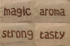 """Sistema de las palabras """"aroma"""", """"strong"""", """"tasty"""", """"magic"""" del coff Fotografía de archivo libre de regalías"""