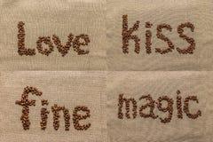 """Sistema de las palabras """"love"""", """"kiss"""", """"fine"""", """"magic"""" del café b Imágenes de archivo libres de regalías"""