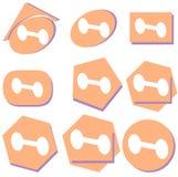 Sistema de las pesas de gimnasia estilizadas para los culturistas aislados Imagen de archivo