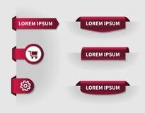 Sistema de las pestañas rojas 3d para el diseño web con el carro de la compra y el ajuste Fotografía de archivo libre de regalías