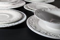 Sistema de las placas texturizadas de cerámica blancas foto de archivo libre de regalías