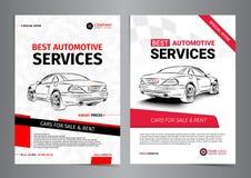 Sistema de las plantillas AUTOMOTRICES de la disposición de los SERVICIOS, coches para la venta Imagen de archivo