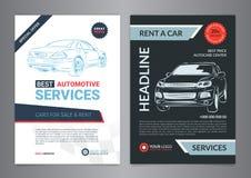 Sistema de las plantillas AUTOMOTRICES de la disposición de los SERVICIOS, coches para la venta Imagen de archivo libre de regalías
