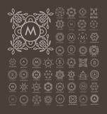 Sistema de las plantillas azules del lujo, simples y elegantes del monograma del diseño Foto de archivo libre de regalías