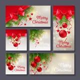 Sistema de las plantillas de la Navidad para la impresión o el diseño web ilustración del vector