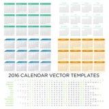 Sistema de las plantillas 2016 del calendario Imagenes de archivo