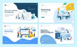 Sistema de las plantillas del diseño de la página web para el márketing de Internet, los medios sociales, el diseño del sitio web stock de ilustración