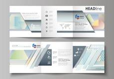 Sistema de las plantillas del negocio para los folletos cuadrados triples Cubierta del prospecto, disposición plana abstracta, ve ilustración del vector