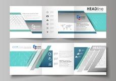 Sistema de las plantillas del negocio para los folletos cuadrados triples del diseño Cubierta del prospecto, disposición abstract ilustración del vector