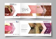 Sistema de las plantillas del negocio para los folletos cuadrados triples del diseño Cubierta del prospecto, disposición abstract Foto de archivo libre de regalías