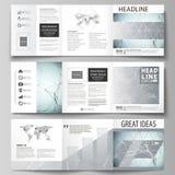 Sistema de las plantillas del negocio para los folletos cuadrados triples del diseño Cubierta del prospecto, disposición abstract Fotos de archivo libres de regalías