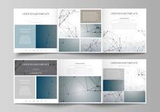 Sistema de las plantillas del negocio para los folletos cuadrados triples del diseño Cubierta del prospecto, disposición abstract Imágenes de archivo libres de regalías