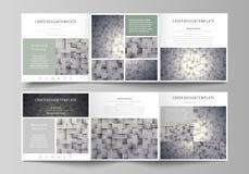 Sistema de las plantillas del negocio para los folletos cuadrados triples del diseño Cubierta del prospecto, disposición abstract Imagen de archivo