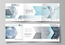 Sistema de las plantillas del negocio para los folletos cuadrados triples del diseño Cubierta del prospecto, disposición abstract Fotos de archivo