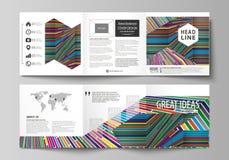 Sistema de las plantillas del negocio para los folletos cuadrados triples del diseño Cubierta del prospecto, disposición abstract Fotografía de archivo libre de regalías