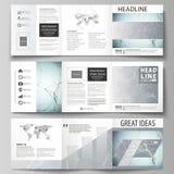 Sistema de las plantillas del negocio para los folletos cuadrados triples del diseño Cubierta del prospecto, disposición abstract stock de ilustración