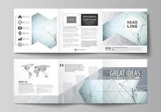 Sistema de las plantillas del negocio para los folletos cuadrados triples del diseño Cubierta del prospecto, disposición abstract Foto de archivo