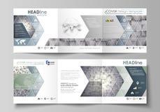 Sistema de las plantillas del negocio para los folletos cuadrados triples del diseño Cubierta del prospecto, disposición abstract Imagenes de archivo