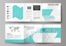 Sistema de las plantillas del negocio para los folletos cuadrados triples del diseño Cubierta del prospecto, disposición abstract Imagen de archivo libre de regalías