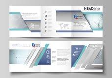 Sistema de las plantillas del negocio para los folletos cuadrados triples del diseño Cubierta del prospecto, disposición abstract libre illustration