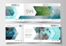 Sistema de las plantillas del negocio para los folletos triples Diseño cuadrado Cubierta del prospecto, decoración plana abstract Fotografía de archivo