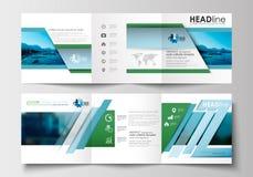Sistema de las plantillas del negocio para los folletos triples Diseño cuadrado Cubierta del prospecto, decoración plana abstract Imagenes de archivo