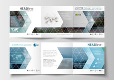 Sistema de las plantillas del negocio para los folletos triples Diseño cuadrado Cubierta del prospecto, decoración plana abstract Fotos de archivo