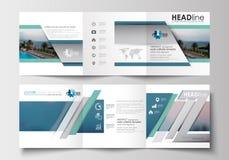 Sistema de las plantillas del negocio para los folletos triples Diseño cuadrado Cubierta del prospecto, decoración plana abstract Imagen de archivo