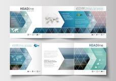 Sistema de las plantillas del negocio para los folletos triples Diseño cuadrado Cubierta del prospecto, decoración plana abstract Imágenes de archivo libres de regalías