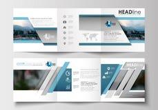 Sistema de las plantillas del negocio para los folletos triples Diseño cuadrado Cubierta del prospecto, decoración plana abstract Imagen de archivo libre de regalías