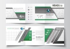 Sistema de las plantillas del negocio para los folletos triples Diseño cuadrado Cubierta del prospecto, disposición plana abstrac Foto de archivo libre de regalías