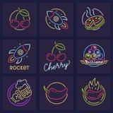 Sistema de las plantillas de neón del icono para los letreros libre illustration