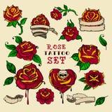 Sistema de las rosas del tatuaje foto de archivo