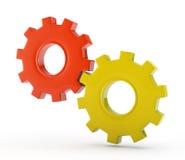 Sistema de las ruedas de engranaje en el fondo blanco Fotos de archivo