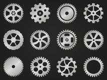 Ruedas dentadas (ruedas de engranaje) de diverso diseño. Foto de archivo libre de regalías
