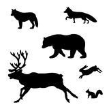 Sistema de las siluetas de animales salvajes Foto de archivo