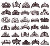 sistema de las siluetas de las coronas antiguas, tiaras, tiara libre illustration