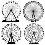 Sistema de las siluetas Ferris Wheel. Fotos de archivo libres de regalías
