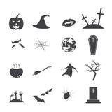 Sistema de las siluetas para Halloween Imagen de archivo