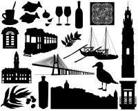 Sistema de las siluetas de Portugal stock de ilustración