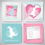 Sistema de las tarjetas de felicitación para el día del ` s de la madre Las mujeres y las siluetas del bebé, texto de la enhorabu Foto de archivo