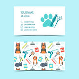 Sistema de las tarjetas de visita para la preparación animal Productos promocionales Diseño plano Vector libre illustration