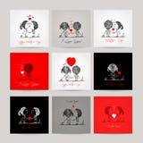 Sistema de las tarjetas de visita, pares en amor junto Foto de archivo