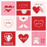 Sistema de las tarjetas del amor para el día de tarjeta del día de San Valentín Foto de archivo