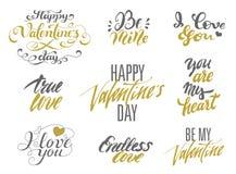 Sistema de las tarjetas del día de San Valentín de las letras felices del día y de amor Fotografía de archivo