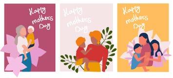 Sistema de las tarjetas de felicitaci?n del d?a de madres ilustración del vector