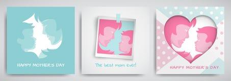 Sistema de las tarjetas de felicitación verdes y rosadas para el día del ` s de la madre Las mujeres y las siluetas del bebé, tex stock de ilustración