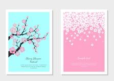 Sistema de las tarjetas de felicitación y de la tarjeta de la invitación con la flor de cerezo libre illustration