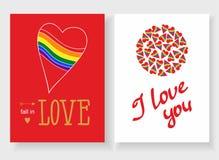 Sistema de las tarjetas para su diseño Amor Foto de archivo