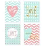 Sistema de las tarjetas para su diseño Amor Foto de archivo libre de regalías